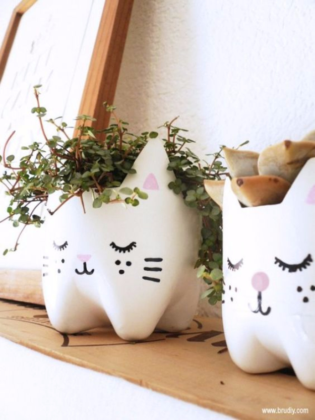 Cool DIY Projects Made With Plastic Bottles - DIY Kitty Planters From Plastic Bottles - Best Easy Crafts and DIY Ideas Made With A Recycled Plastic Bottle - Jewlery, Home Decor, Planters, Craft Project Tutorials - Cheap Ways to Decorate and Creative DIY Gifts for Christmas Holidays - Fun Projects for Adults, Teens and Kids