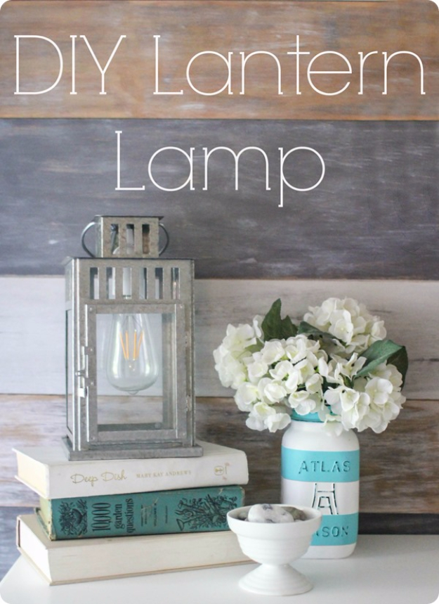 DIY Farmhouse Style Decor Ideas for the Bedroom - DIY Lantern Lamp - Rustic Farm House Ideas for Furniture, Paint Colors, Farm House Decoration for Home Decor in The Bedroom - Wall Art, Rugs, Nightstands, Lights and Room Accessories http://diyjoy.com/diy-farmhouse-decor-bedroom