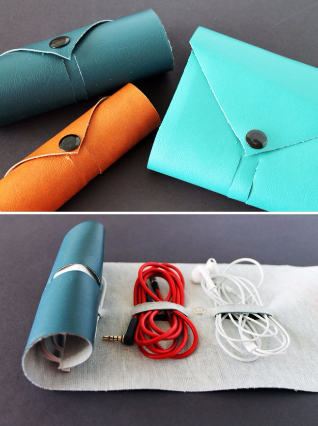 DIY Gift for the Office - DIY Leather Cord Roll - DIY Gift Ideas for Your Boss and Coworkers - Cheap and Quick Presents to Make for Office Parties, Secret Santa Gifts - Cool Mason Jar Ideas, Creative Gift Baskets and Easy Office Christmas Presents http://diyjoy.com/diy-gifts-office