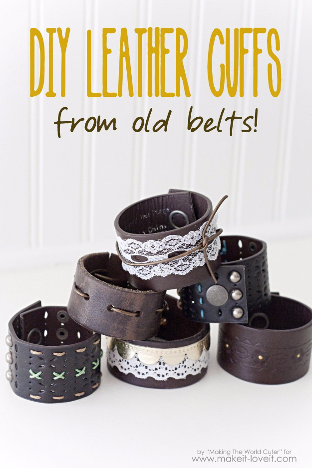 DIY Gifts for Friends - Christmas Gift Idea for Neighbor - - DIY Leather Cuffs From Old Belts - Cute Mason Jar Crafts, Gift Baskets and Cheap and Easy Gift Ideas to Make for Friends - Do It Yourself Projects You Can Sew and Craft That Make Awesome DIY Gifts and Homemade Christmas Presents #diygifts #christmasgifts #xmasgifts