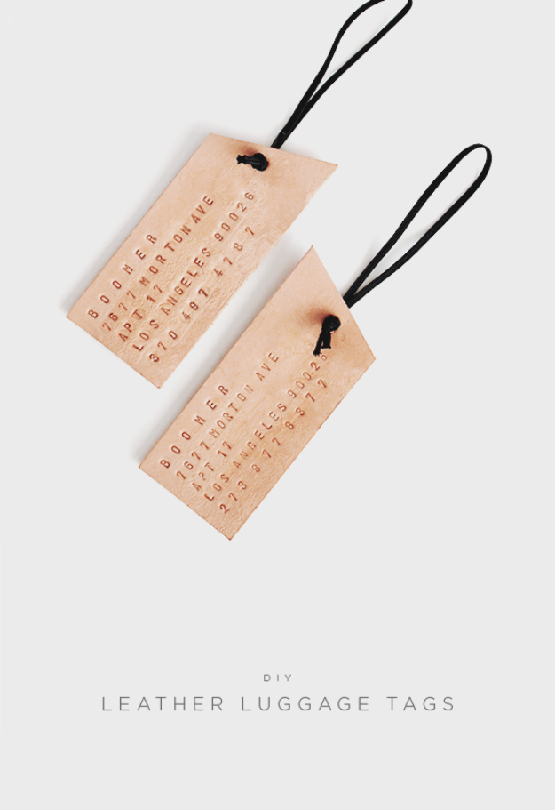 Best DIY Gifts for Neighbors - DIY Leather Luggage Tags - Cute Mason Jar Crafts, Gift Baskets and Cheap and Easy Gift Ideas to Make for Friends - Do It Yourself Projects You Can Sew and Craft That Make Awesome DIY Gifts and Homemade Christmas Presents http://diyjoy.com/diy-gifts-friends-neighbors