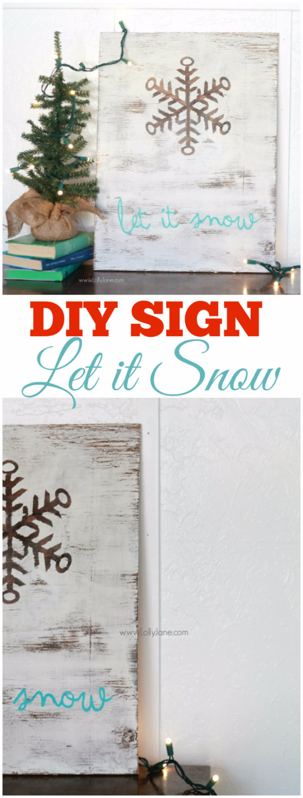 Best DIY Snowflake Decorations, Ornaments and Crafts - DIY Let It Snow Sign - Paper Crafts with Snowflakes, Pipe Cleaner Projects, Mason Jars and Dollar Store Ideas - Easy DIY Ideas to Decorate for Winter#winter #crafts #diy