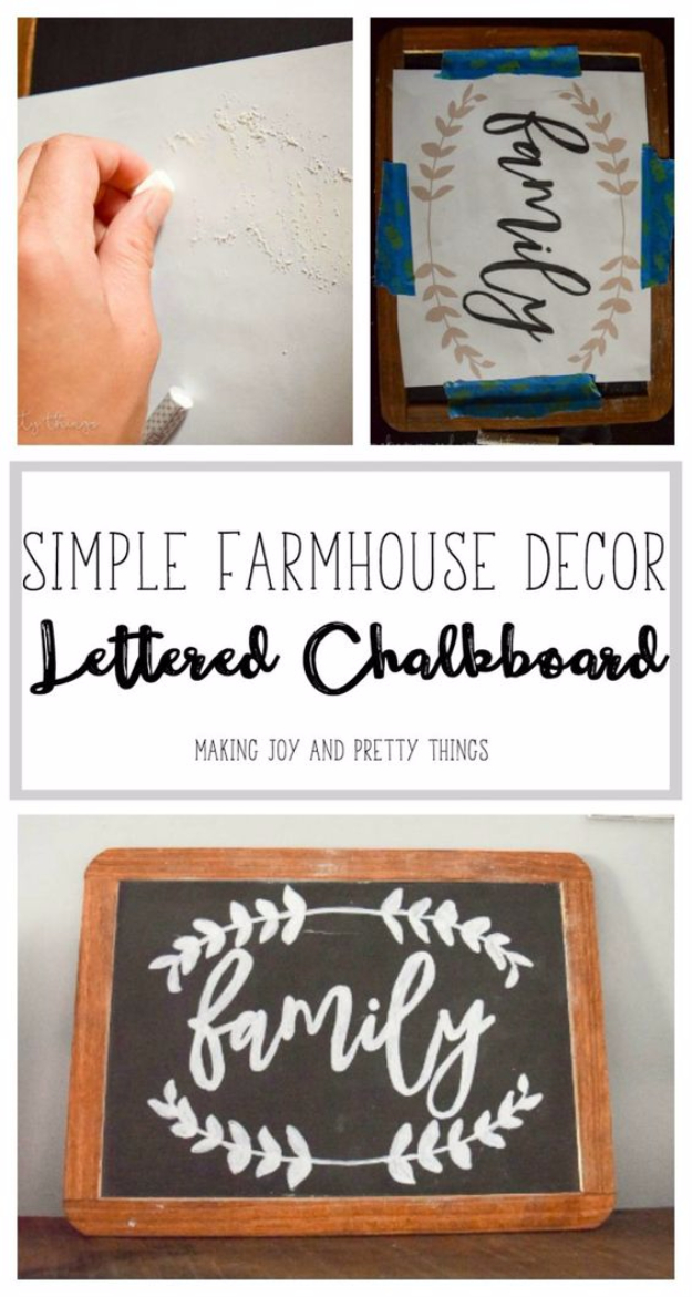 DIY Farmhouse Style Decor Ideas for the Bedroom - DIY Lettered Chalkboard Sign - Rustic Farm House Ideas for Furniture, Paint Colors, Farm House Decoration for Home Decor in The Bedroom - Wall Art, Rugs, Nightstands, Lights and Room Accessories http://diyjoy.com/diy-farmhouse-decor-bedroom