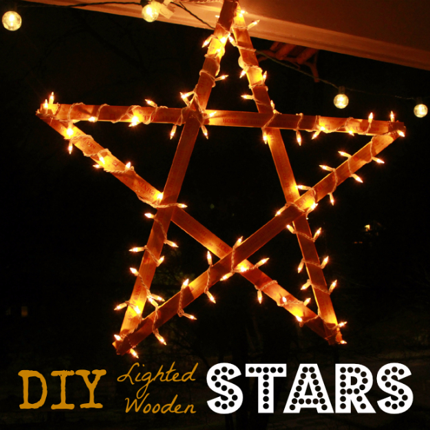 Cool Ways To Use Christmas Lights - DIY Lighted Wooden Stars - Best Easy DIY Ideas for String Lights for Room Decoration, Home Decor and Creative DIY Bedroom Lighting #diy #christmas #homedecor