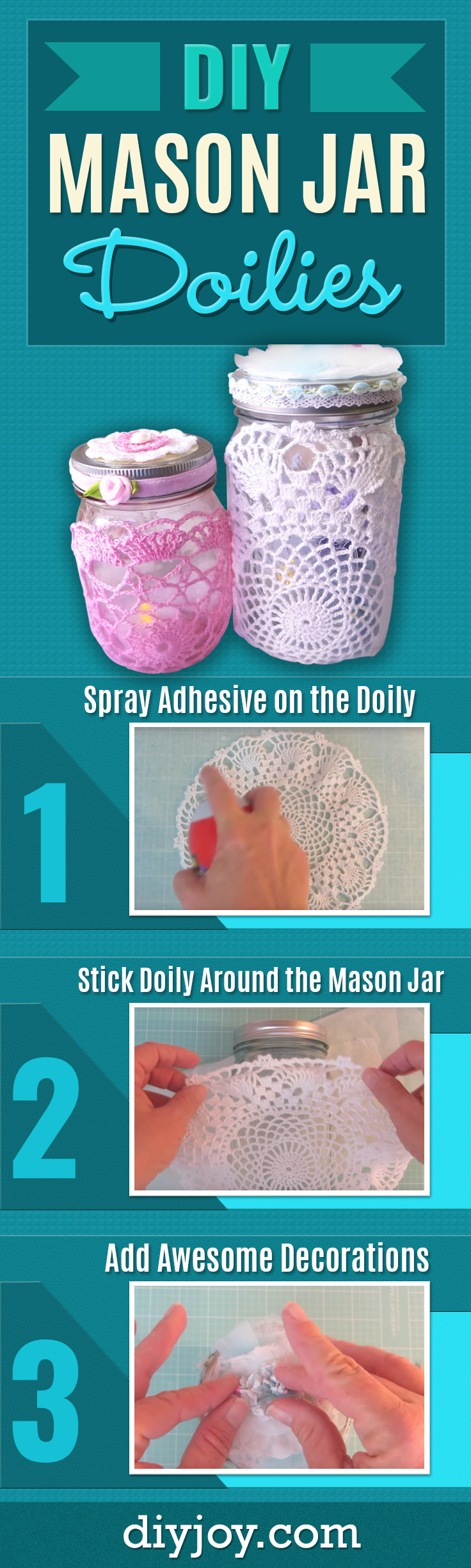 DIY Mothers Day Gift Ideas - Mason Jar Doilies - Homemade Gifts for Moms - Crafts and Do It Yourself Home Decor, Accessories and Fashion To Make For Mom - Mothers Love Handmade Presents on Mother's Day - DIY Projects and Crafts by DIY JOY