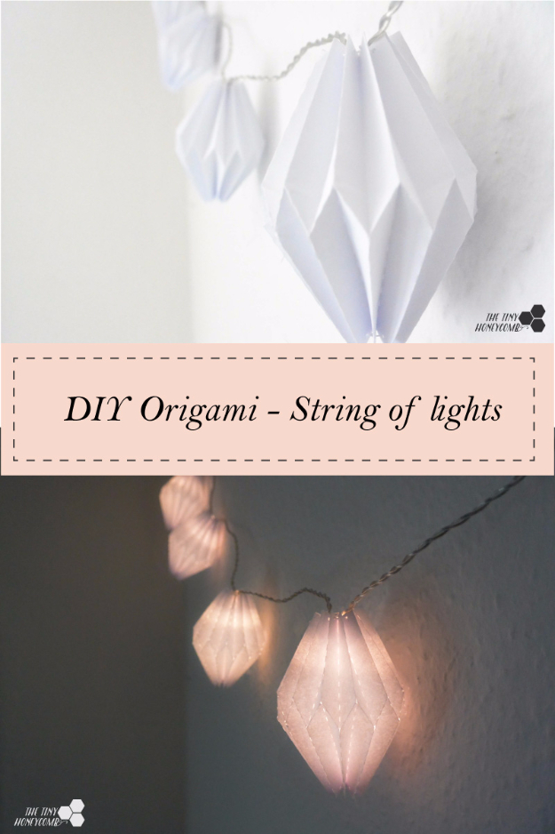 Cool Ways To Use Christmas Lights - DIY Origami String Of Lights - Best Easy DIY Ideas for String Lights for Room Decoration, Home Decor and Creative DIY Bedroom Lighting #diy #christmas #homedecor