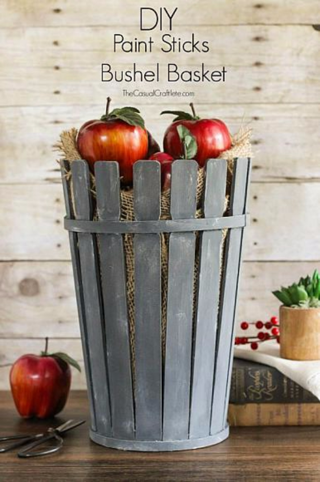 DIY Farmhouse Style Decor Ideas for the Kitchen - DIY Paint Sticks Bushel Basket - Rustic Farm House Ideas for Furniture, Paint Colors, Farm House Decoration for Home Decor in The Kitchen - Wall Art, Rugs, Countertops, Lights and Kitchen Accessories #farmhouse #diydecor