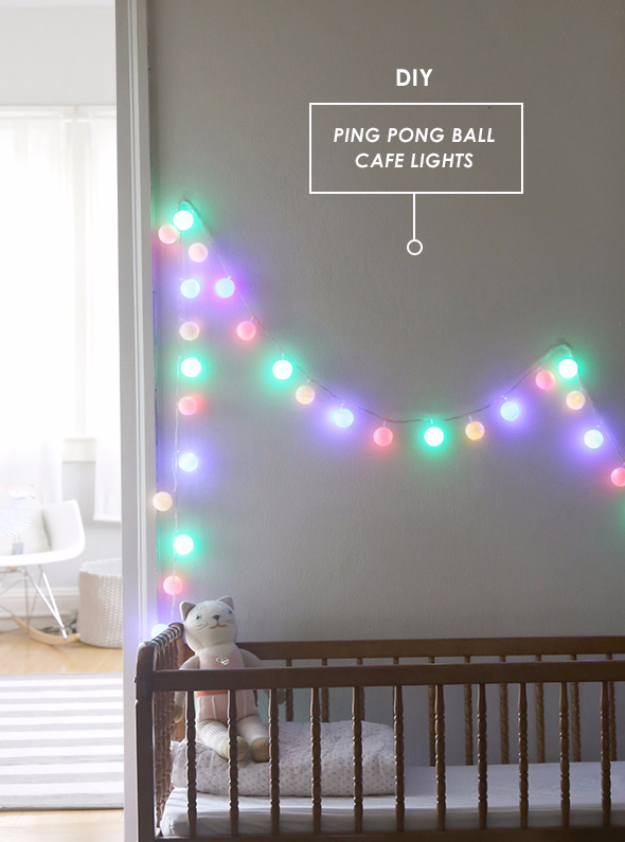 Cool Ways To Use Christmas Lights - DIY Ping Pong Ball Cafe Lights - Best Easy DIY Ideas for String Lights for Room Decoration, Home Decor and Creative DIY Bedroom Lighting #diy #christmas #homedecor