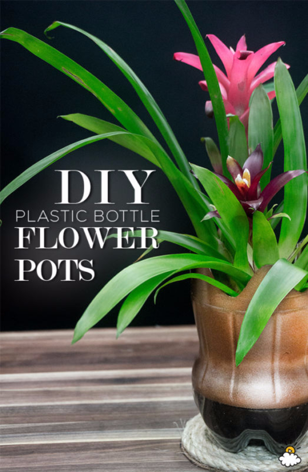 Cool DIY Projects Made With Plastic Bottles - DIY Plastic Bottle Flower Pots - Best Easy Crafts and DIY Ideas Made With A Recycled Plastic Bottle - Jewlery, Home Decor, Planters, Craft Project Tutorials - Cheap Ways to Decorate and Creative DIY Gifts for Christmas Holidays - Fun Projects for Adults, Teens and Kids http://diyjoy.com/diy-projects-plastic-bottles