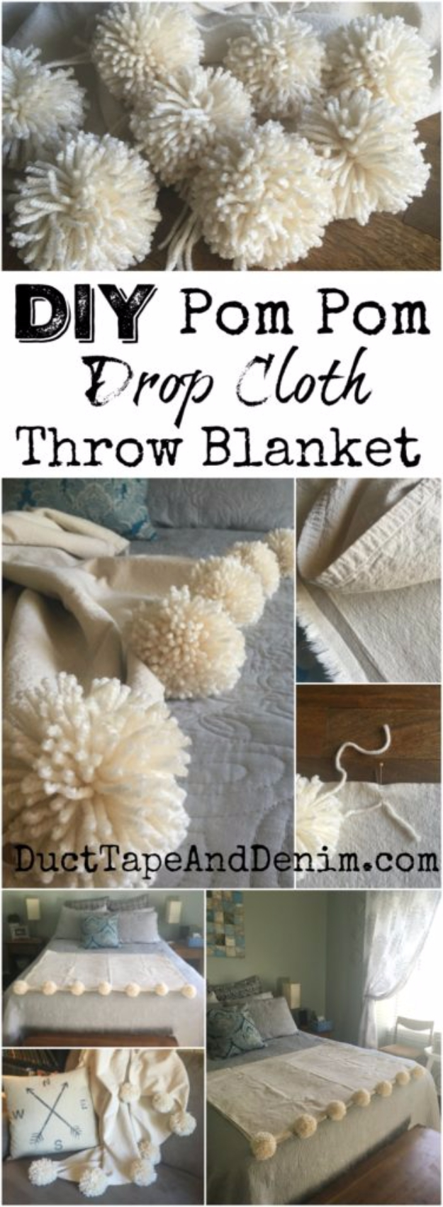 DIY Blankets and Throws - DIY Pom Pom Drop Cloth Throw Blanket - How To Make Easy Home Decor and Warm Covers for Women, Kids, Teens and Adults - Fleece, Knit, No Sew and Easy Projects to Make for Bed and Sofa