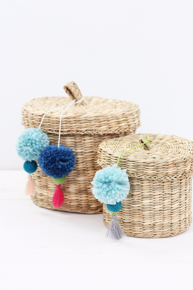 Creative Crafts Made With Baskets - DIY Pom Pom Tassel Basket - DIY Storage and Organizing Ideas, Gift Basket Ideas, Best DIY Christmas Presents and Holiday Gifts, Room and Home Decor with Step by Step Tutorials - Easy DIY Ideas and Dollar Store Crafts #crafts #diy