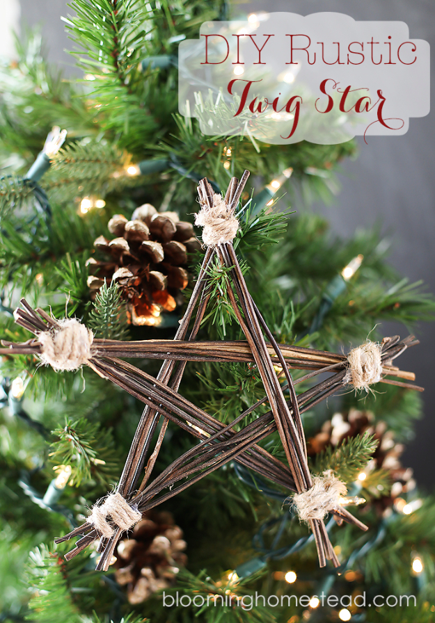 Best DIY Ornaments for Your Tree - Best DIY Ornament Ideas for Your Christmas Tree - DIY Rustic Twig Star - Cool Handmade Ornaments, DIY Decorating Ideas and Ornament Tutorials - Creative Ways To Decorate Trees on A Budget - Cheap Rustic Decor, Easy Step by Step Tutorials - Holiday Crafts for Kids and Gifts To Make For Friends and Family http://diyjoy.com/diy-ideas-christmas-tree