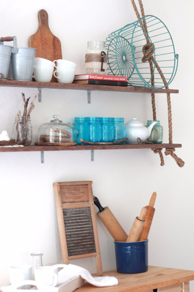 DIY Farmhouse Style Decor Ideas for the Kitchen - DIY Rustic Wall Shelves - Rustic Farm House Ideas for Furniture, Paint Colors, Farm House Decoration for Home Decor in The Kitchen - Wall Art, Rugs, Countertops, Lights and Kitchen Accessories #farmhouse #diydecor