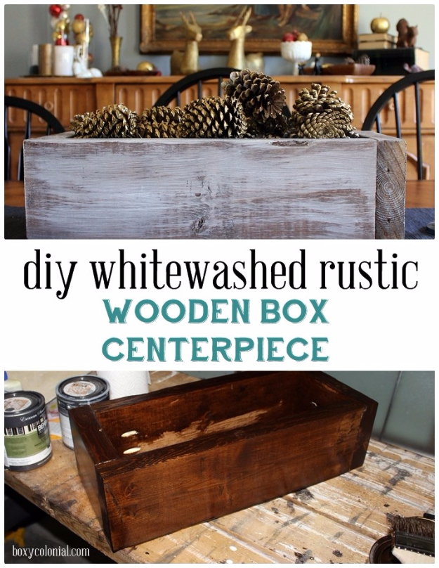DIY Christmas Centerpieces - DIY Rustic Wooden Box Centerpiece With Gold Pinecones - Simple, Easy Holiday Decorating Ideas on A Budget- cheap dollar store crafts holiday #holiday #crafts #christmas