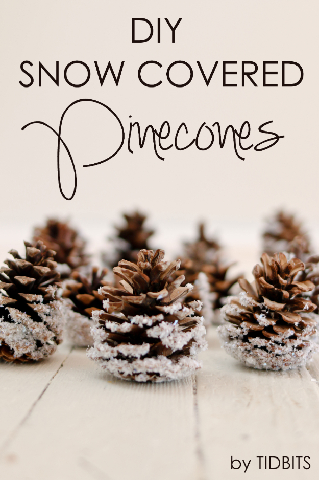 Best DIY Ornaments for Your Tree - Best DIY Ornament Ideas for Your Christmas Tree - DIY Snow Covered Pinecones - Cool Handmade Ornaments, DIY Decorating Ideas and Ornament Tutorials - Creative Ways To Decorate Trees on A Budget - Cheap Rustic Decor, Easy Step by Step Tutorials - Holiday Crafts for Kids #christmas