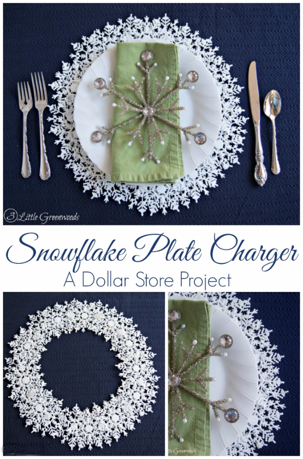 Best DIY Snowflake Decorations, Ornaments and Crafts - DIY Snowflake Plate Charger - Paper Crafts with Snowflakes, Pipe Cleaner Projects, Mason Jars and Dollar Store Ideas - Easy DIY Ideas to Decorate for Winter#winter #crafts #diy