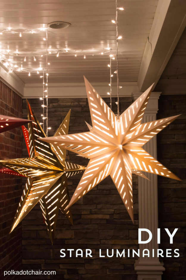 DIY Christmas Luminaries and Home Decor for The Holidays - DIY Star Luminaries - Cool Candle Holders, Tea Lights, Holiday Gift Ideas, Christmas Crafts for Kids - Line Winter Walkways With Rustic Mason Jars, Paper Bag Luminaries and Creative Lighting Ideas