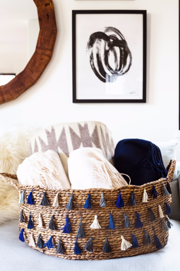 Creative Crafts Made With Baskets - DIY Tassel Basket - DIY Storage and Organizing Ideas, Gift Basket Ideas, Best DIY Christmas Presents and Holiday Gifts, Room and Home Decor with Step by Step Tutorials - Easy DIY Ideas and Dollar Store Crafts #crafts #diy