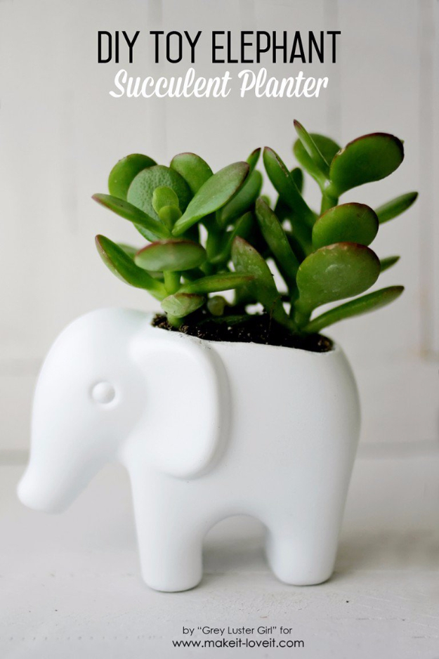 DIY Gift for the Office - DIY Toy Elephant Succulent Planter - DIY Gift Ideas for Your Boss and Coworkers - Cheap and Quick Presents to Make for Office Parties, Secret Santa Gifts - Cool Mason Jar Ideas, Creative Gift Baskets and Easy Office Christmas Presents