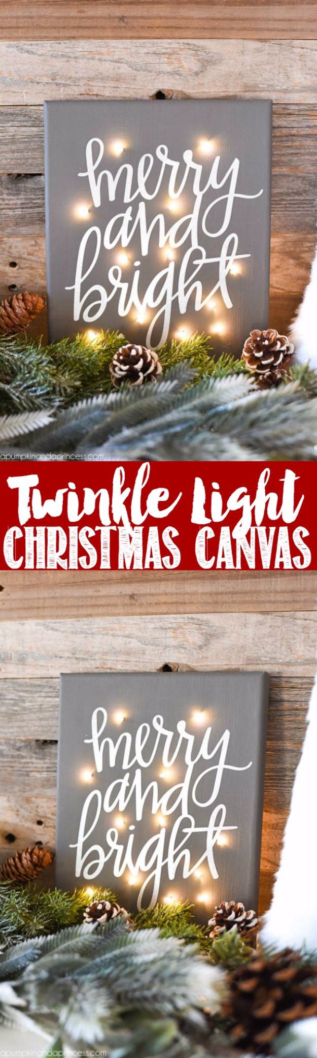 Fun Ways To Use Christmas Lights - DIY Twinkle Light Christmas Canvas - Best Easy DIY Ideas for String Lights for Room Decoration, Home Decor and Creative DIY Bedroom Lighting #diy #christmas #homedecor
