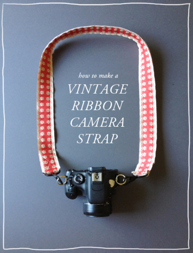 DIY Gift for the Office - DIY Vintage Ribbon Camera Strap - DIY Gift Ideas for Your Boss and Coworkers - Cheap and Quick Presents to Make for Office Parties, Secret Santa Gifts - Cool Mason Jar Ideas, Creative Gift Baskets and Easy Office Christmas Presents
