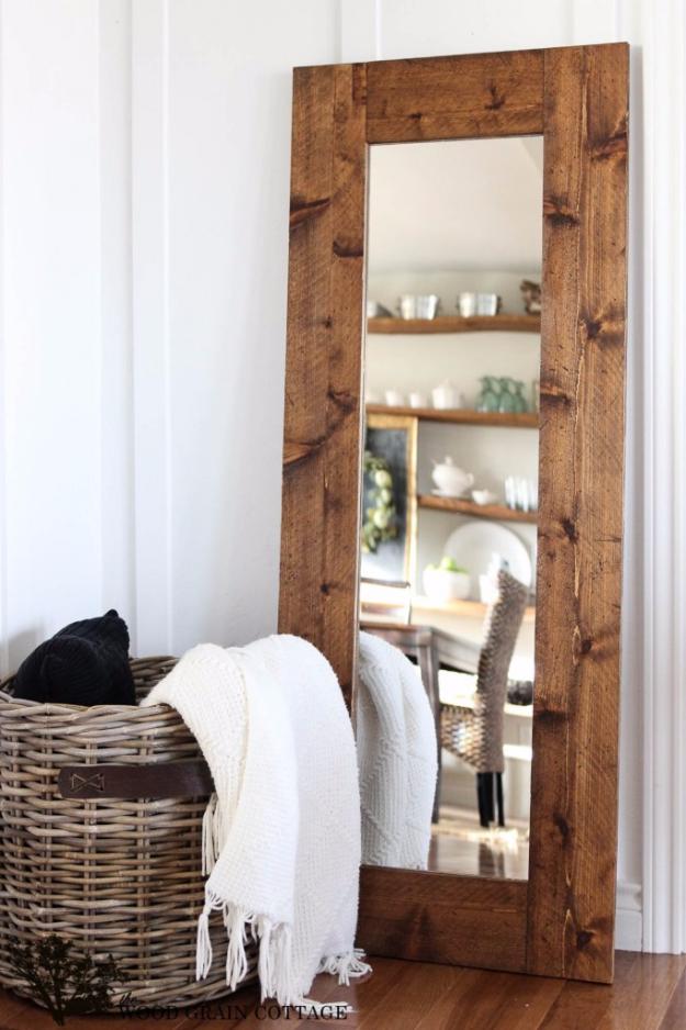 Diy Farmhouse Style Decor Ideas For The Bedroom Wood Framed Mirror Rustic Farm