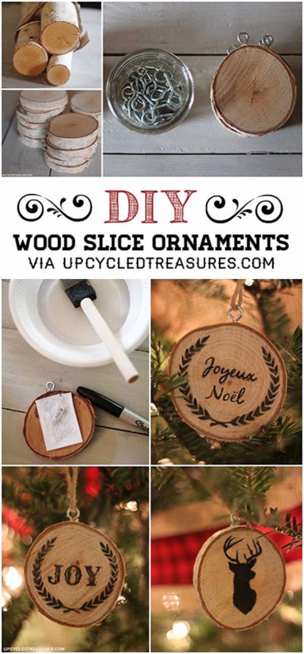 Best DIY Ornaments for Your Tree - Best DIY Ornament Ideas for Your Christmas Tree - DIY Wood Slice Christmas Ornaments - Cool Handmade Ornaments, DIY Decorating Ideas and Ornament Tutorials - Creative Ways To Decorate Trees on A Budget - Cheap Rustic Decor, Easy Step by Step Tutorials - Holiday Crafts for Kids #christmas