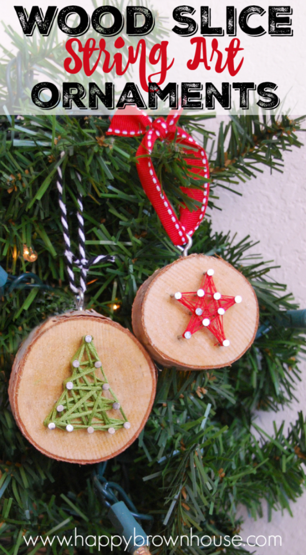 Best DIY Ornaments for Your Tree - Best DIY Ornament Ideas for Your Christmas Tree - DIY Wood Slice String Art Ornament - Cool Handmade Ornaments, DIY Decorating Ideas and Ornament Tutorials - Creative Ways To Decorate Trees on A Budget - Cheap Rustic Decor, Easy Step by Step Tutorials - Holiday Crafts for Kids and Gifts To Make For Friends and Family http://diyjoy.com/diy-ornaments-christmas-tree