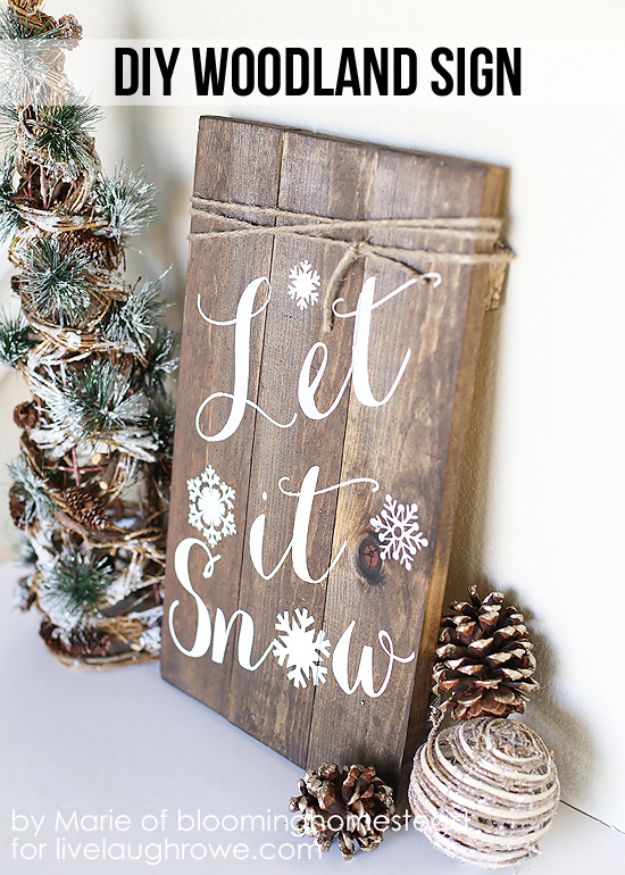 Best DIY Ideas for Wintertime - DIY Woodland Sign - Winter Crafts with Snowflakes, Icicle Art and Projects, Wreaths, Woodland and Winter Wonderland Decor, Mason Jars and Dollar Store Ideas - Easy DIY Ideas to Decorate Home and Room for Winter - Creative Home Decor and Room Decorations for Adults, Teens and Kids #diy #winter #crafts
