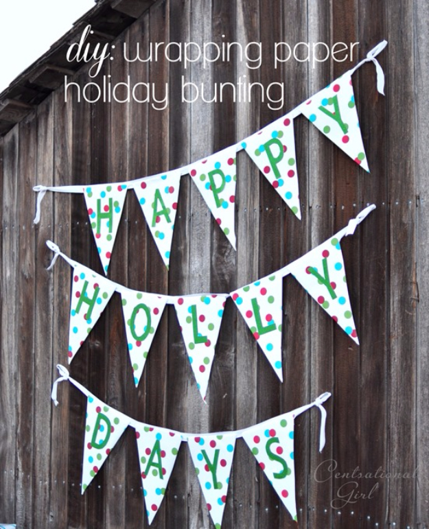 Cool Things to Make With Leftover Wrapping Paper - DIY Wrapping Paper Bunting - Easy Crafts, Fun DIY Projects, Gifts and DIY Home Decor Ideas - Don't Trash The Christmas Wrapping Paper and Learn How To Make These Awesome Ideas Instead - Step by Step Tutorials With Instructions