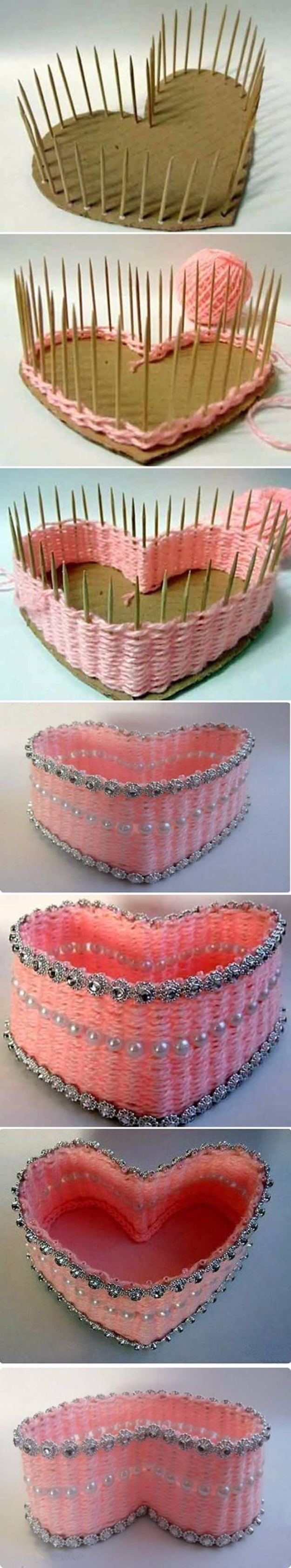 Creative Crafts Made With Baskets - DIY Yarn Woven Heart Shaped Basket - DIY Storage and Organizing Ideas, Gift Basket Ideas, Best DIY Christmas Presents and Holiday Gifts, Room and Home Decor with Step by Step Tutorials - Easy DIY Ideas and Dollar Store Crafts #crafts #diy