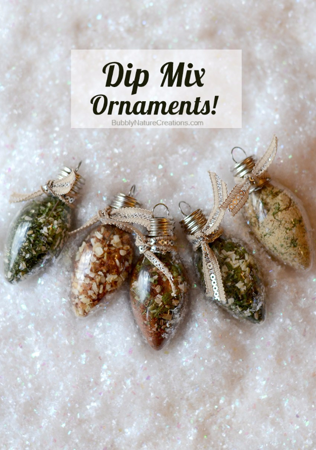 DIY Gift for the Office - Dip Mix Ornaments - DIY Gift Ideas for Your Boss and Coworkers - Cheap and Quick Presents to Make for Office Parties, Secret Santa Gifts - Cool Mason Jar Ideas, Creative Gift Baskets and Easy Office Christmas Presents