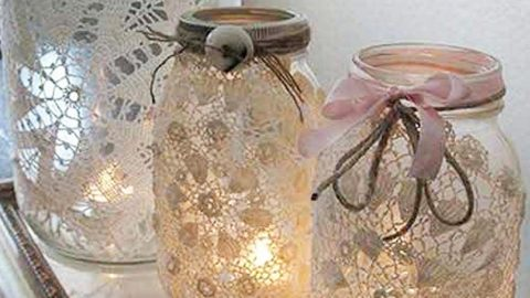 She Makes These Exquisitely Appointed Mason Jars With Her Grandmother's Doilies… | DIY Joy Projects and Crafts Ideas