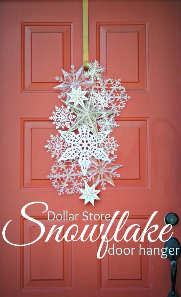 Best DIY Snowflake Decorations, Ornaments and Crafts - Dollar Store Snowflake Door Hanger - Paper Crafts with Snowflakes, Pipe Cleaner Projects, Mason Jars and Dollar Store Ideas - Easy DIY Ideas to Decorate for Winter#winter #crafts #diy