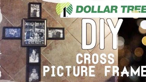 watch how she makes this unique and sentimental cross out of dollar tree frames