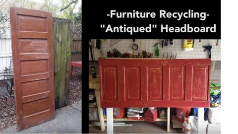 He Upcycles An Old Door Into An Amazing Antiqued Headboard! | DIY Joy Projects and Crafts Ideas