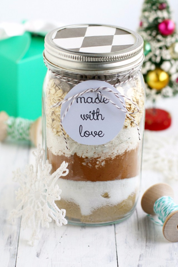 Best Mason Jar Cookies - Double Chocolate Coconut Oatmeal Cookies - Mason Jar Cookie Recipe Mix for Cute Decorated DIY Gifts - Easy Chocolate Chip Recipes, Christmas Presents and Wedding Favors in Mason Jars - Fun Ideas for DIY Parties and Cheap Last Minute Gift Ideas for Friends #diygifts #masonjarcrafts