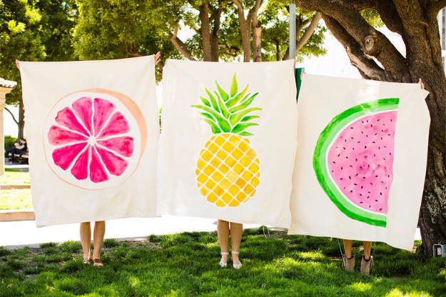 DIY Blankets and Throws - Drop Cloth Fruit Blanket - How To Make Easy Home Decor and Warm Covers for Women, Kids, Teens and Adults - Fleece, Knit, No Sew and Easy Projects to Make for Bed and Sofa