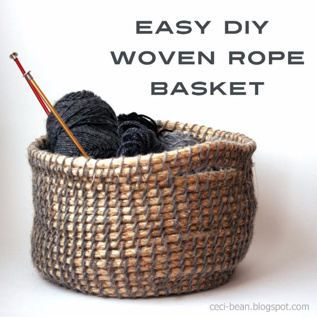 Creative Crafts Made With Baskets - Easy DIY Woven Rope Basket - DIY Storage and Organizing Ideas, Gift Basket Ideas, Best DIY Christmas Presents and Holiday Gifts, Room and Home Decor with Step by Step Tutorials - Easy DIY Ideas and Dollar Store Crafts #crafts #diy