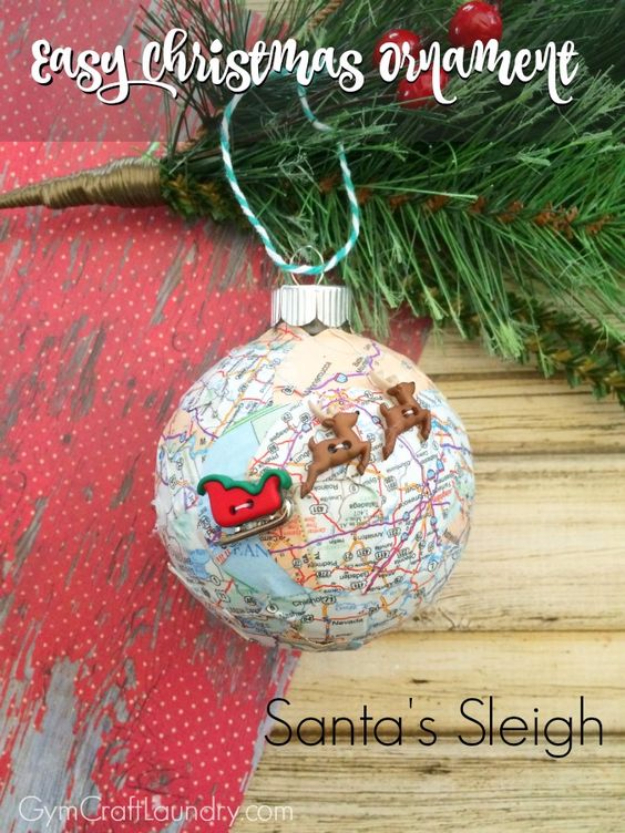 Best DIY Ornaments for Your Tree - Best DIY Ornament Ideas for Your Christmas Tree - Easy Decoupage Santa's Sleigh Map Ornament - Cool Handmade Ornaments, DIY Decorating Ideas and Ornament Tutorials - Creative Ways To Decorate Trees on A Budget - Cheap Rustic Decor, Easy Step by Step Tutorials - Holiday Crafts for Kids and Gifts To Make For Friends and Family http://diyjoy.com/diy-ideas-christmas-tree
