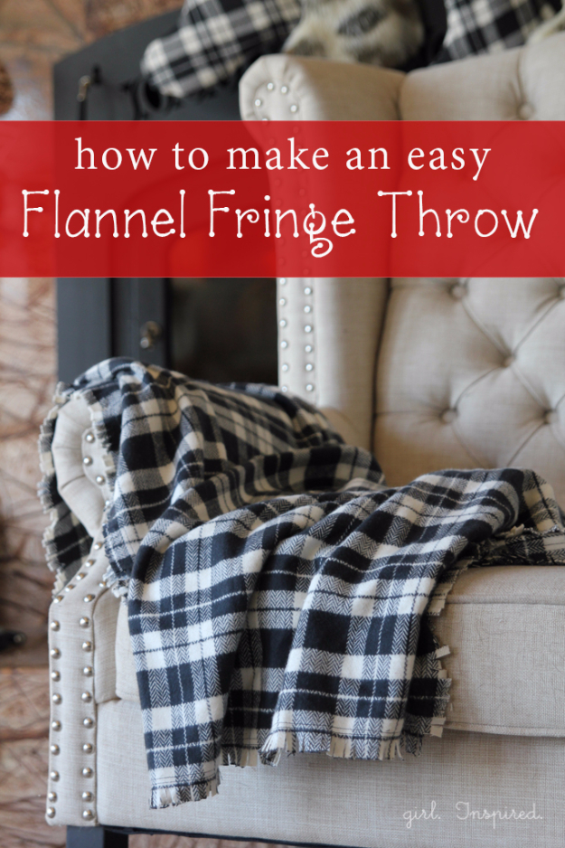 DIY Blankets and Throws - Easy Flannel Fringe Throw - How To Make Easy Home Decor and Warm Covers for Women, Kids, Teens and Adults - Fleece, Knit, No Sew and Easy Projects to Make for Bed and Sofa