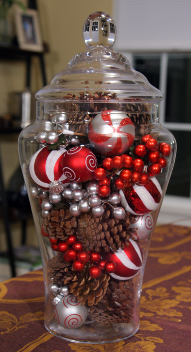 DIY Christmas Centerpieces - Easy Jar Holiday Centerpiece - Simple, Easy Holiday Decorating Ideas on A Budget- cheap dollar store crafts holiday #holiday #crafts #christmas