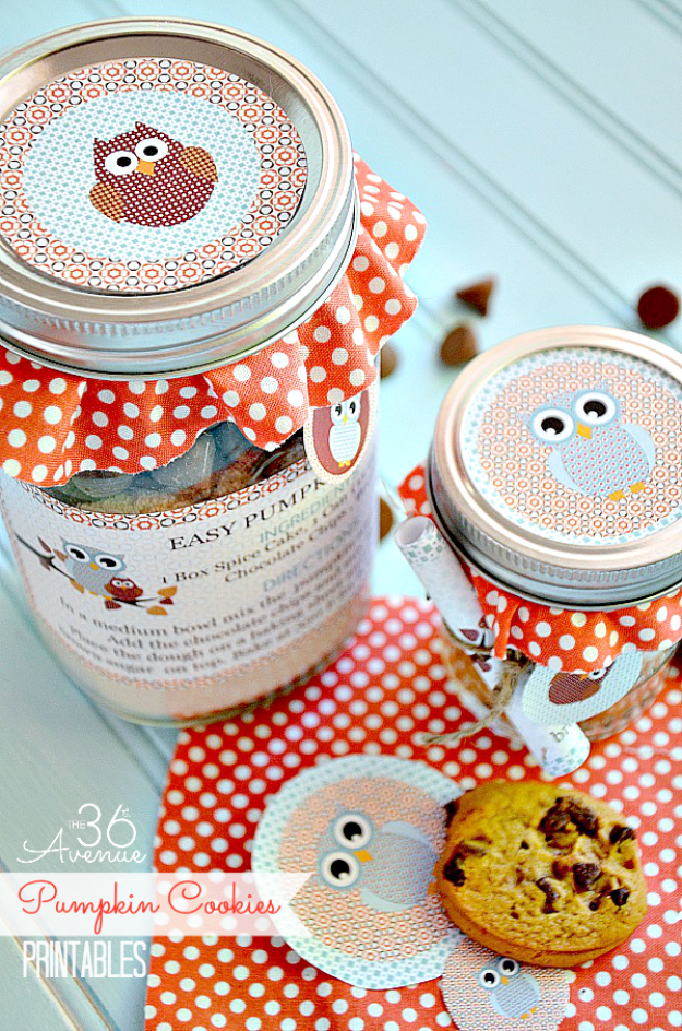 Best Mason Jar Cookies - Easy Pumpkin Cookie Mix - Mason Jar Cookie Recipe Mix for Cute Decorated DIY Gifts - Easy Chocolate Chip Recipes, Christmas Presents and Wedding Favors in Mason Jars - Fun Ideas for DIY Parties and Cheap Last Minute Gift Ideas for Friends #diygifts #masonjarcrafts
