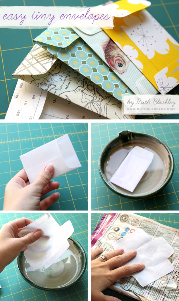 Cool Things to Make With Leftover Wrapping Paper - Easy Tiny Envelopes - Easy Crafts, Fun DIY Projects, Gifts and DIY Home Decor Ideas - Don't Trash The Christmas Wrapping Paper and Learn How To Make These Awesome Ideas Instead - Step by Step Tutorials With Instructions