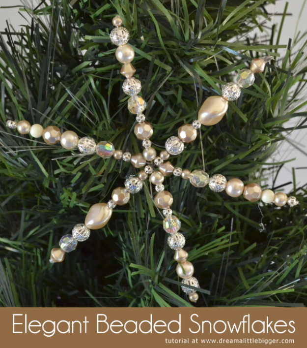 Best DIY Ideas for Wintertime - Elegant Beaded Snowflakes - Winter Crafts with Snowflakes, Icicle Art and Projects, Wreaths, Woodland and Winter Wonderland Decor, Mason Jars and Dollar Store Ideas - Easy DIY Ideas to Decorate Home and Room for Winter - Creative Home Decor and Room Decorations for Adults, Teens and Kids #diy #winter #crafts