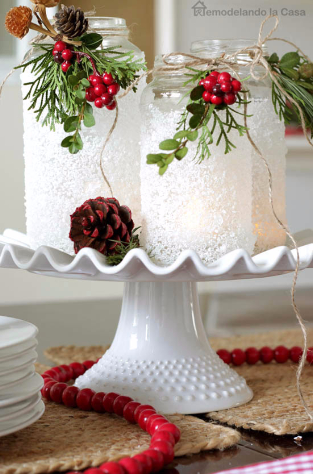 DIY Christmas Luminaries and Home Decor for The Holidays - Epsom Salts Luminaries - Cool Candle Holders, Tea Lights, Holiday Gift Ideas, Christmas Crafts for Kids #diy #luminaries #christmas