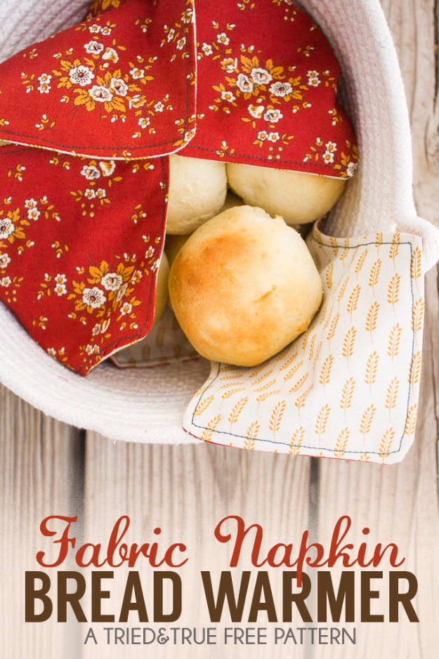 DIY Sewing Projects for the Kitchen - Fabric Napkin Bread Warmer - Easy Sewing Tutorials and Patterns for Towels, napkinds, aprons and cool Christmas gifts for friends and family - Rustic, Modern and Creative Home Decor Ideas http://diyjoy.com/diy-sewing-projects-kitchen