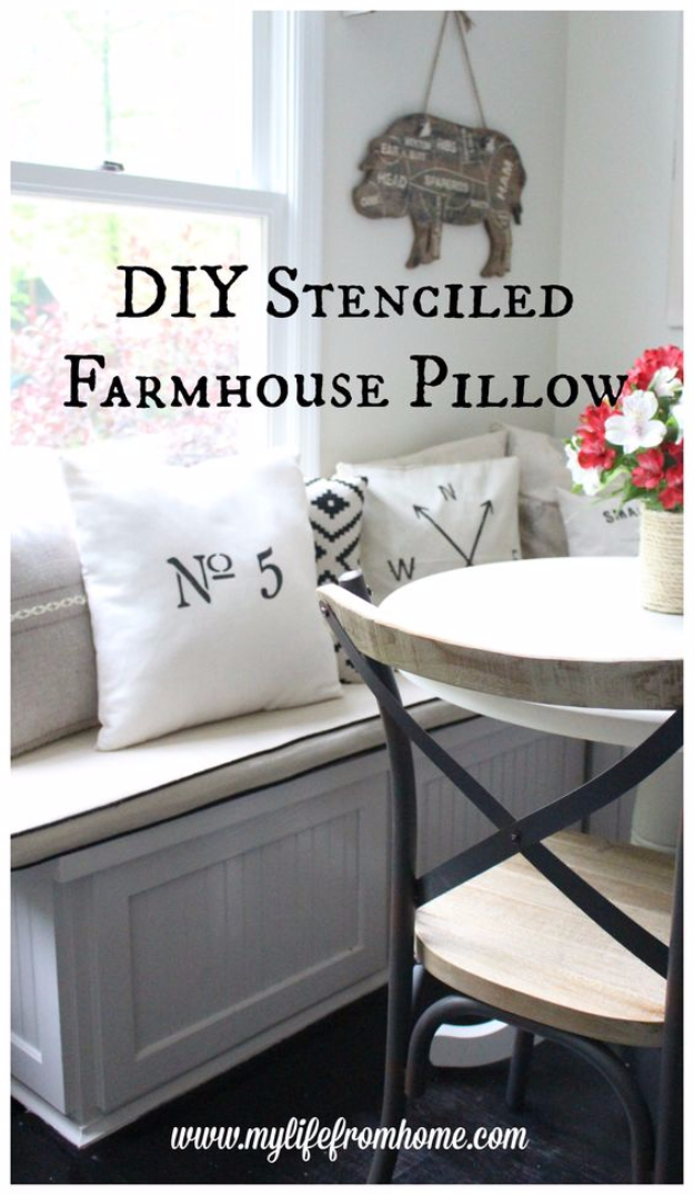 diy farmhouse style decor ideas for the bedroom farmhouse stenciled pillow rustic farm house - Rustic Farmhouse Decor