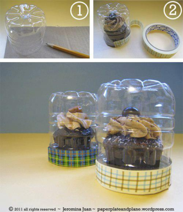 Cool DIY Projects Made With Plastic Bottles - Fast Easy Cupcake Case - Best Easy Crafts and DIY Ideas Made With A Recycled Plastic Bottle - Jewlery, Home Decor, Planters, Craft Project Tutorials - Cheap Ways to Decorate and Creative DIY Gifts for Christmas Holidays - Fun Projects for Adults, Teens and Kids