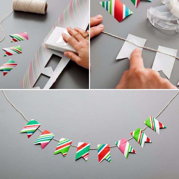 Cool Things to Make With Leftover Wrapping Paper - Festive Garland - Easy Crafts, Fun DIY Projects, Gifts and DIY Home Decor Ideas - Don't Trash The Christmas Wrapping Paper and Learn How To Make These Awesome Ideas Instead - Step by Step Tutorials With Instructions